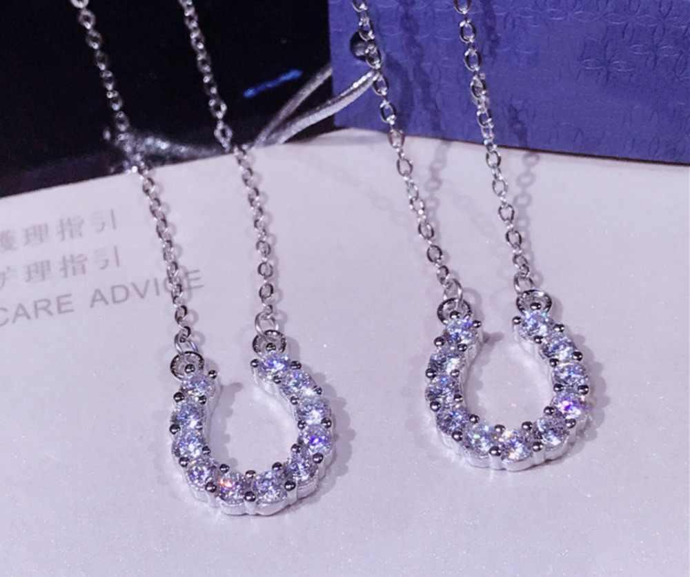 Moda Sorte Ferradura Colar 925 Sterling Silver Cubic Zirconia U Forma Mulheres Cadeia Colar De Pingente de Casamento Jóias Cavalo