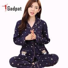 Gadpat весенние пижамы для Для женщин Наборы для ухода за кожей 100% хлопок с длинным рукавом пижамы костюм женский плюс Размеры M-3xl пижамы Костюмы