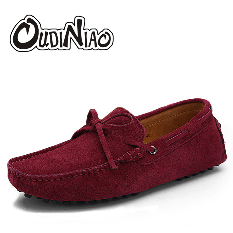 Autumn Men Loafers Moccasin Homme Casual Cow Suede Split Leather Shoes Moccasins Slip On Men Shoes Mocasines Zapatos Hombre 2016 new fashion camellia women genuine full grain leather flat heel single shoes ladies working leather flowers ballet flats