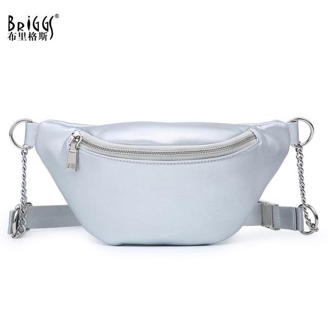 BRIGGS Brand Women PU Leather Waist Belt Bag Chains Belt Pack Waist Bag Small Women Bag Travel Bag Waist Pack Bolsas