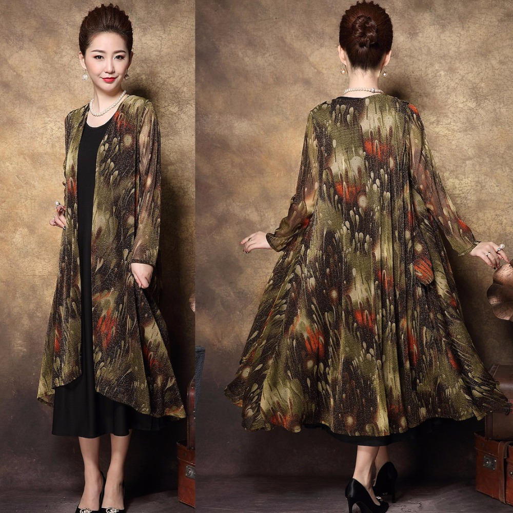New 2018 Spring middle age Women elegant twinset long dress fashion female vintage printed party dress