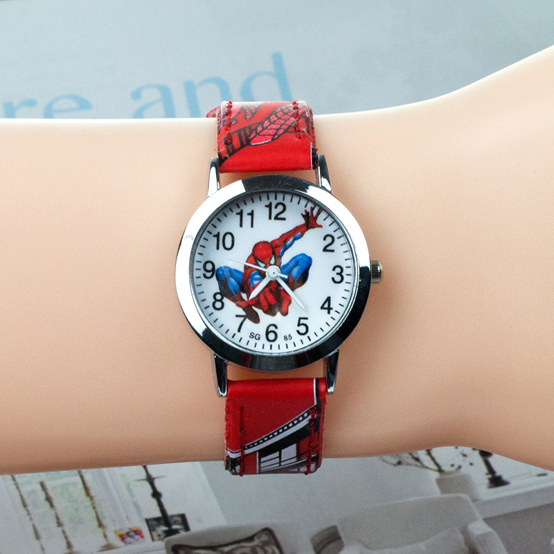 JOYROX Spiderman Pattern Children Watches Hot Cartoon Leather Strap Kids Child Watch Students Girls Quartz Wristwatch Boys Clock
