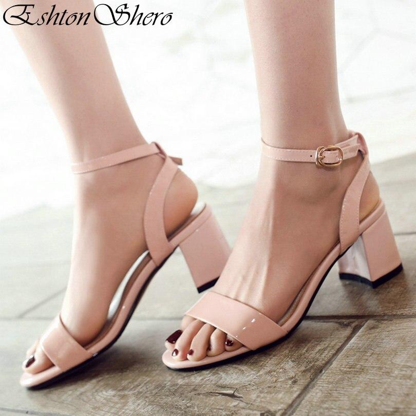EshtonShero femmes sandales chaussures femme talons Med plate-forme en peau de mouton bride à la cheville rose dames chaussures de mariage taille 3-12