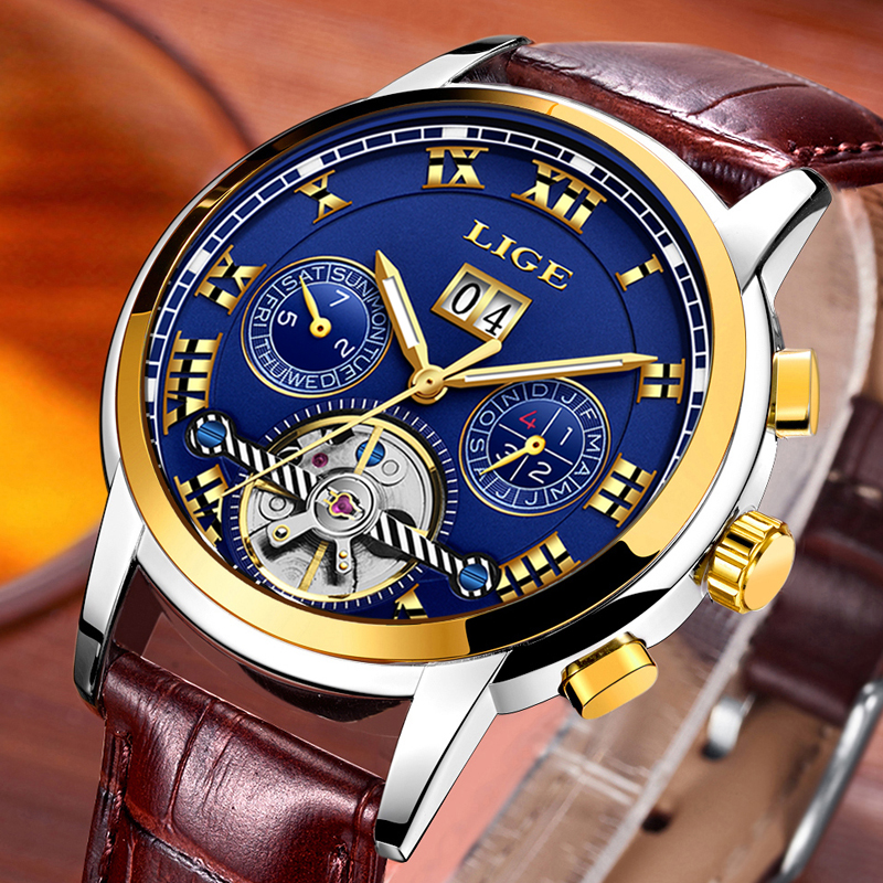 LIGE Mens Watches Top Brand Luxury Mechanical Watch Men Leather Business Waterproof Sport Watches Relogio Masculino 9861LIGE Mens Watches Top Brand Luxury Mechanical Watch Men Leather Business Waterproof Sport Watches Relogio Masculino 9861