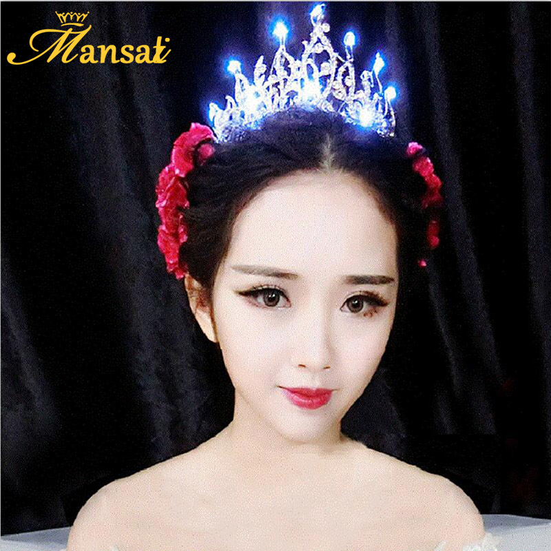 Glitter Queen Crown LED Light 4Colors Rhinestone Bridal Glowing Tiara Light-up Hairband for Women Christmas Hair Ornaments HG195