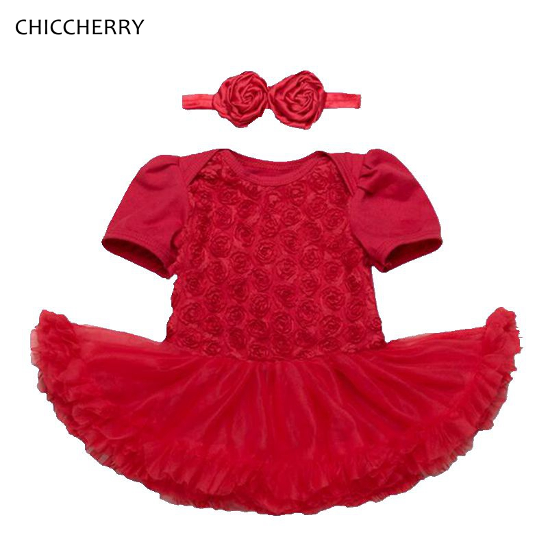 red rose flower baby girl clothes short sleeve lace romper dress headband set robe bebe fille new year costumes birthday outfits in clothing sets from