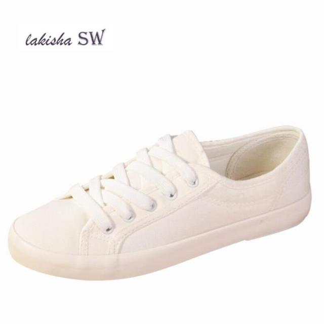 3665892e44 Spring Autumn New canvas Shoes Woman Fashion Lace Up White Shoes Woman Flats  For Lady s Size 35-40 women sneakers