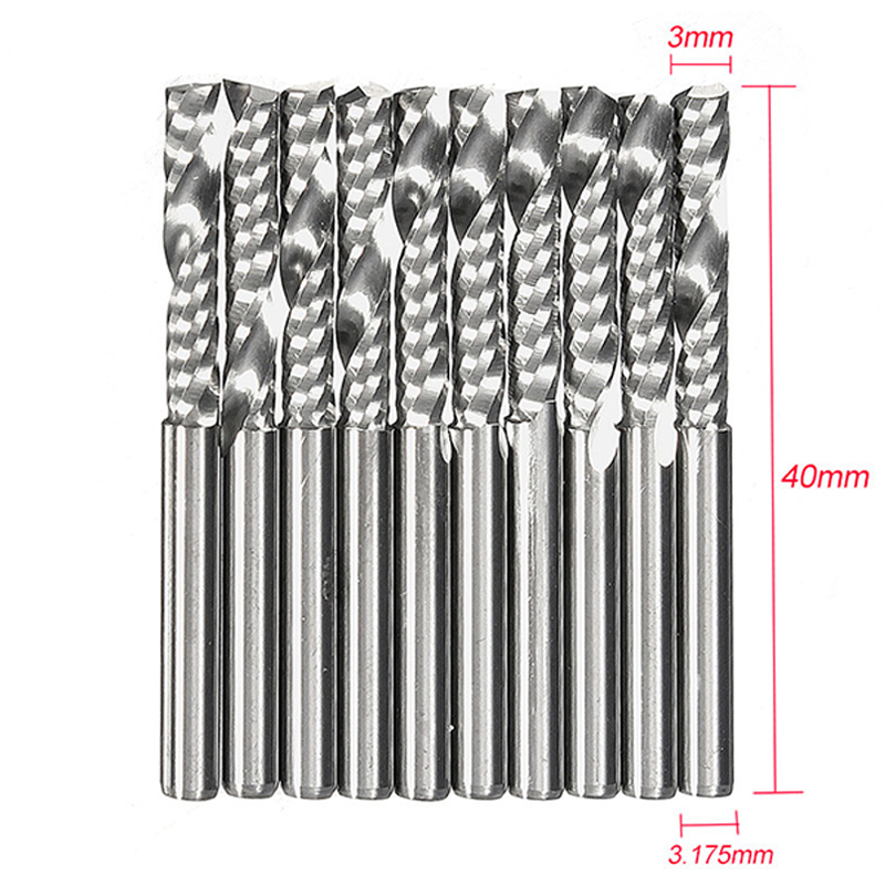 NK MIXTOS 10pcs /set Single Flute CNC Router Bits Carbide Milling Cutter Spiral PVC Cutter Single Flute End Mill Cutter
