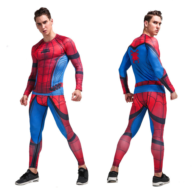 YANQIN Quick Dry Fitness Tight Jogger Exercise Set Male Spiderman 3D Print Gym Training Tracksuit Men Basketball Sport Suits sexy sports bra and leggings