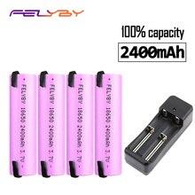 FELYBY marca 100% capacidade 18650 bateria de íon li 3.7 v bateria de lítio de 2400 mah 18650 bateria recarregável Para lanterna caneta Laser