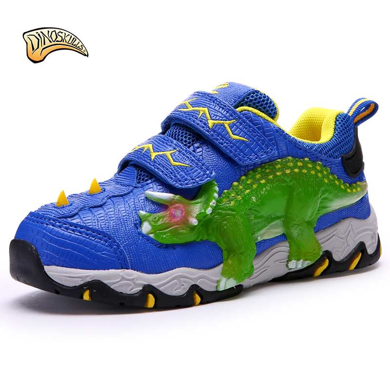 Dinoskulls boy's dinosaur sneakers children light sports shoes boys illumious shoes kids cartoon shoes autumn new 27-34# glowing sneakers usb charging shoes lights up colorful led kids luminous sneakers glowing sneakers black led shoes for boys