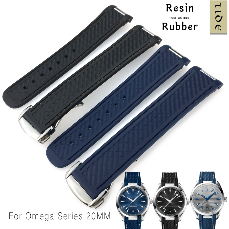 20mm Rubber Silicone Watch Strap New Fashion Folding Buckle Black Blue Watchband Special for Omega Seamaster