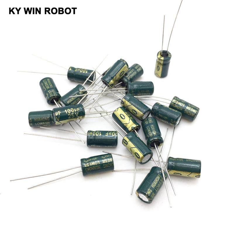 20pcs/lot 25V 100UF 6x12mm High Frequency Low Impedance Aluminum Electrolytic Capacitor 100uf 25v