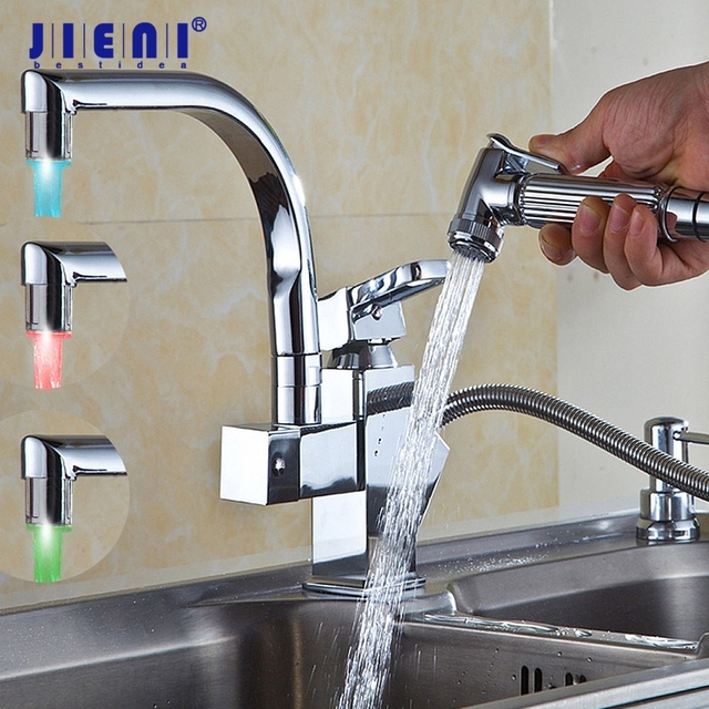 LED Deck Mounted Pull Out Kitchen Faucet Chrome Finish Mixer Tap Single Handle Dual Sprayer Mixer ORB Polish Chrome Nickel Brush