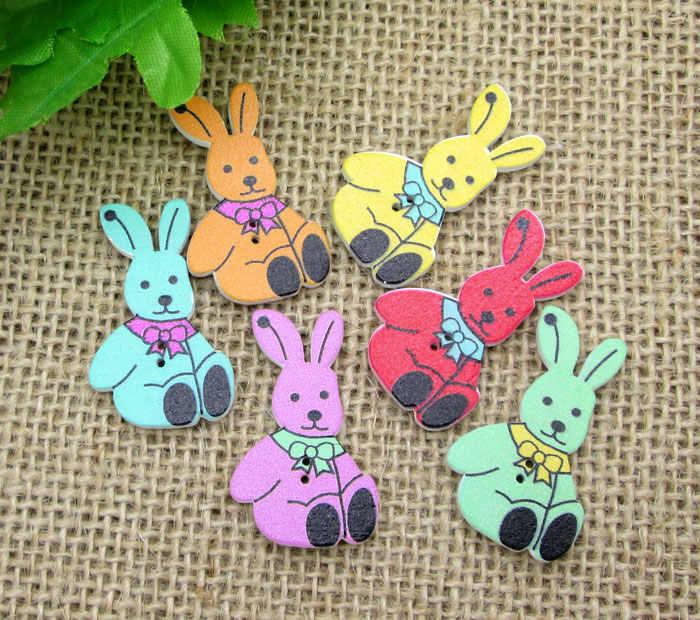 50 ピースミックスウッドウサギの子供のための縫製服スクラップブッキング装飾木製---工芸品針仕事 Diy アクセサリー