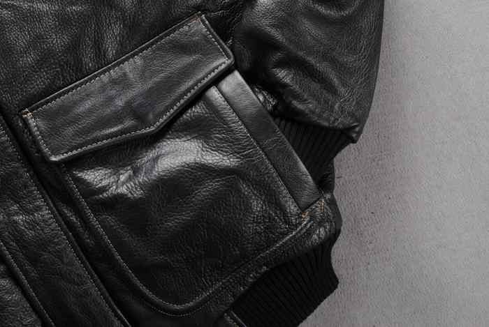 21bab55ab5f ... winter leather jacket men real fur collar leather bomber jacket men  black cowskin pilot jacket thick ...