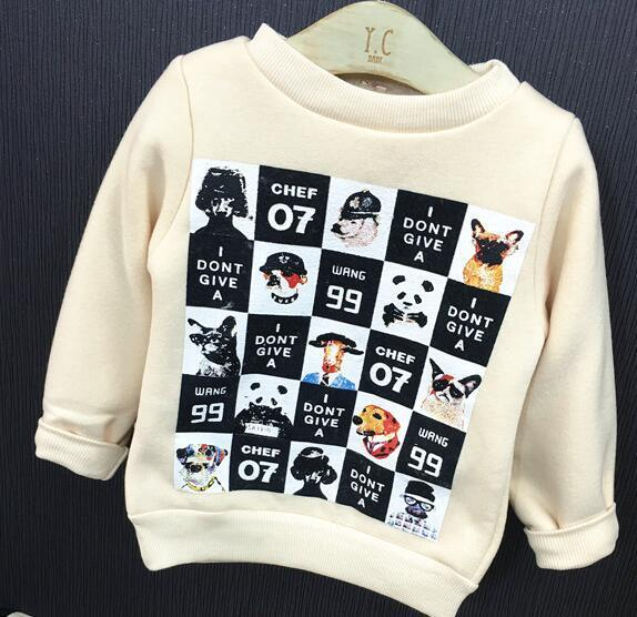 2016 winter and autumn warm children boys pullover new boy thicker plus velvet round neck children's boy clothes shirt