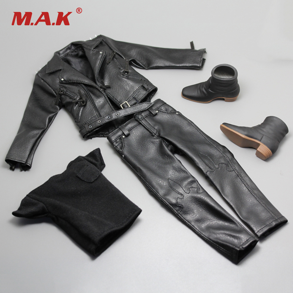 Фотография 1/6 Ghost Rider Black Leather Jacket Pants Set Models for 12 inches Male Action Figures Bodies Accessories