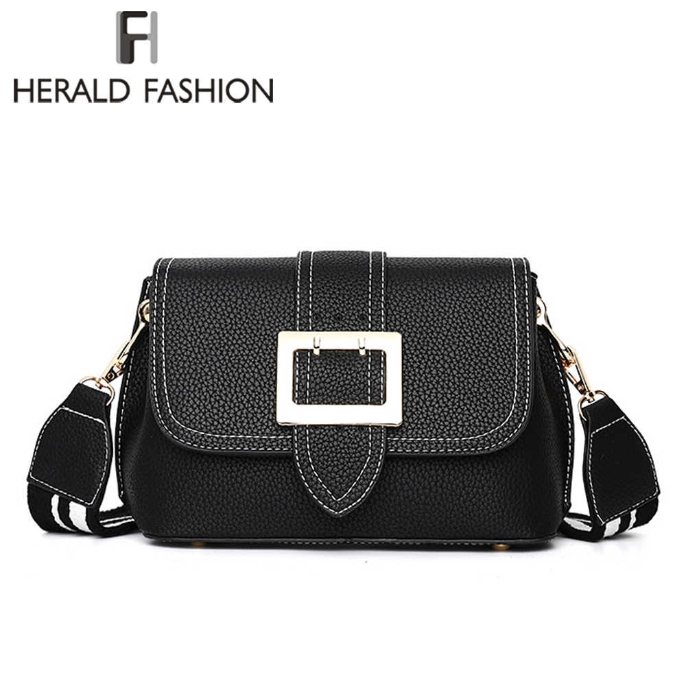 fabb0bd4ee97 Herald Fashion Quality Women Leather Shoulder Bag Wide Strap Female  Messenger Bags Causal Lady s Panelled Flap