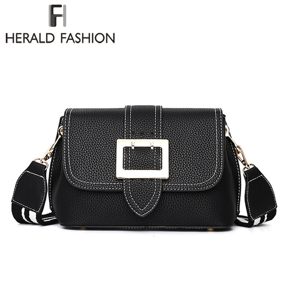 Herald Fashion Quality Women Leather Shoulder Bag Wide Strap Female Messenger Bags Causal Ladys Panelled Flap Crossbody Bag