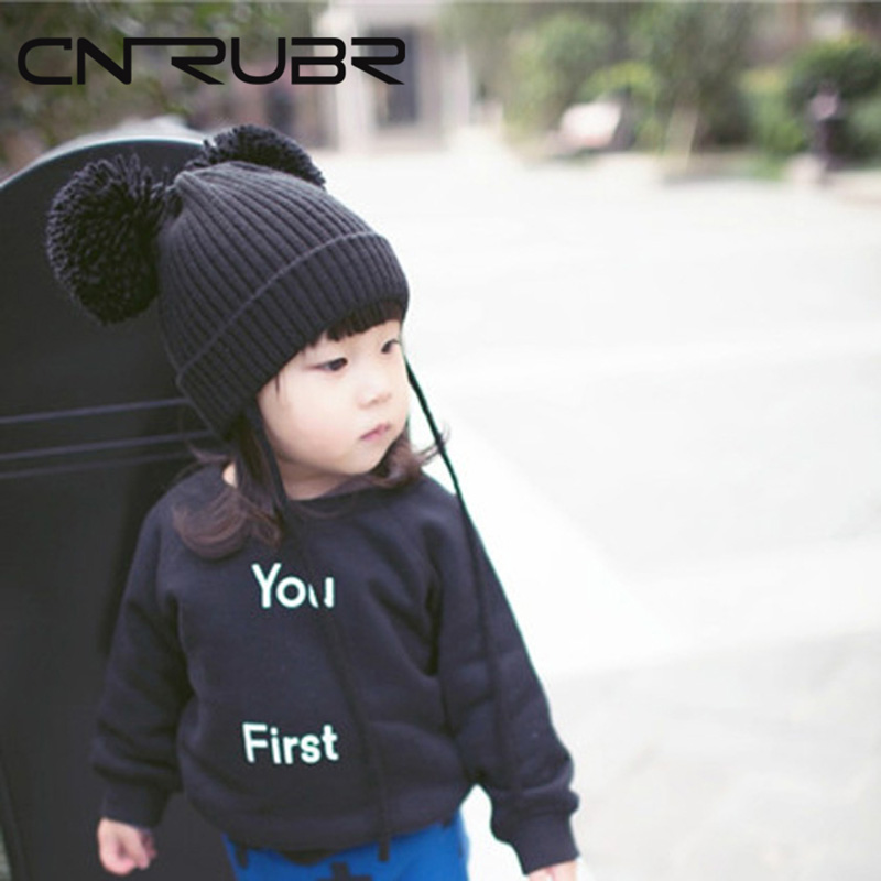 CN-RUBR New Korea Style Original Single Male And Female Baby Children'S Wool Cap Cute 2 Hair Ball Wizard Cap Baby Knit Hat the new children s cubs hat qiu dong with cartoon animals knitting wool cap and pile