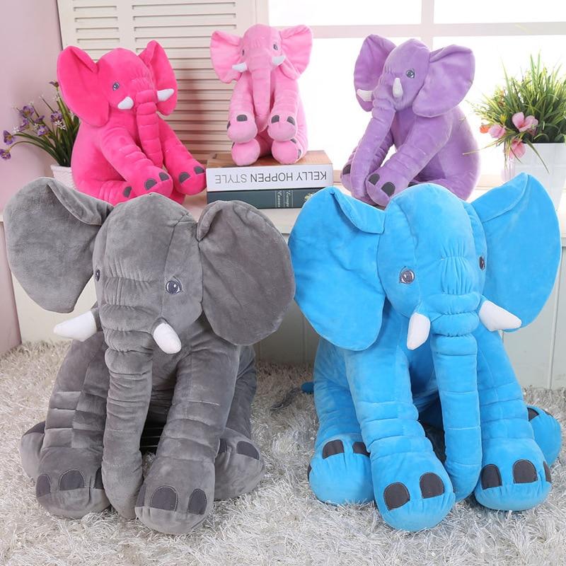 40cm/60cm Large Baby Plush Elephant Pillow Toy Kids Sleeping Back Cushion Cute Stuffed Elephant Baby Accompany Doll Xmas Gift 23cm cute plush grey elephant toys dolls baby sleeping back pillow cushion soft stuffed elephant plush toys kids gift