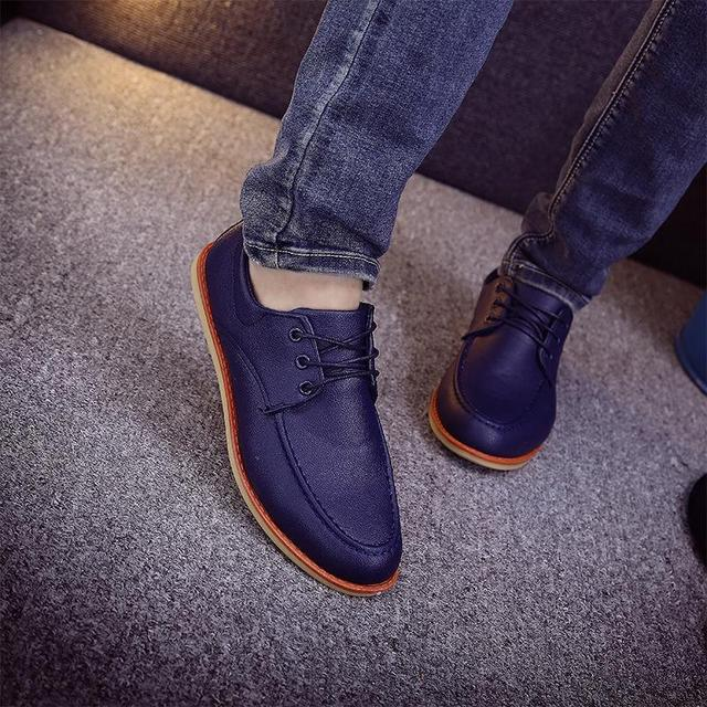 New Arrival Spring Low Top Shoes Fashionable Men Leisure Leather Shoes Men British Style Flats Driving Loafers Black Blue Oxford