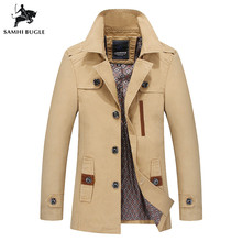 Men 2019 Spring New Business Casual Trench Coat Jacket Men Brand Fashion Long Sleeve 100% Cotton Solid Washed Trench Coat Men rubilove brand new men s casual trench coat wind breaker fashion designer plus size casual trench for men pull homme outwear