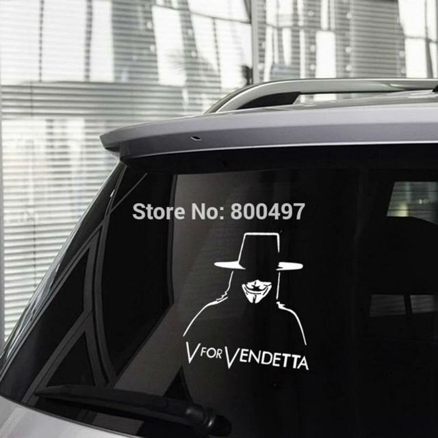Newest creative v for vendetta mask sticker car decoration decals for volkswagen bmw benz opel peugeot