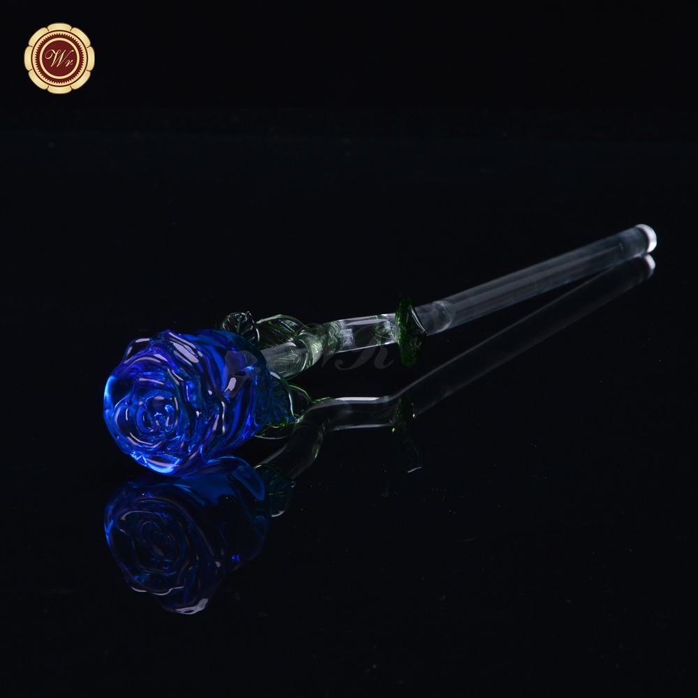 WR Gorgeous Blue Crystal Rose New Year Gifts Glass Flower Bud Valentines Rose Best Gift for Love