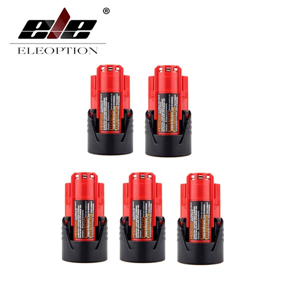 ELEOPTION 5PCS 2.0AH 2000mAh 12V Lithium-Ion Battery for Milwaukee IR C12 48-11-2401 B M12 High Quality
