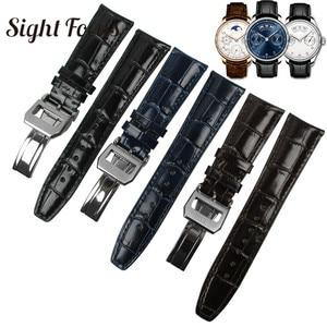 Image 2 - 22 ミリメートル湾曲端iwcの時計バンド革の交換 7 日腕時計ブレスレット男性ベルト黒青コーヒーストラップメンズ