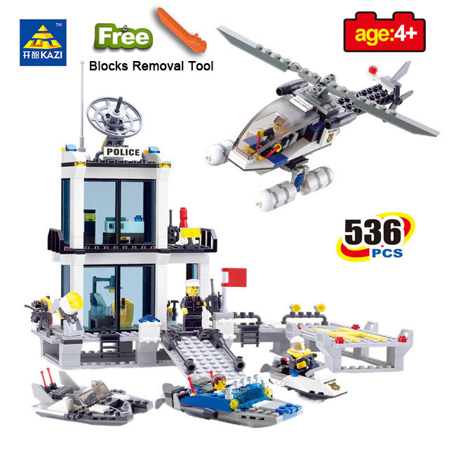 KAZI 6726 Police Station Prison Figures Building Blocks Compatible Legos City Enlighten Bricks Educational Toys For Children kazi 6726 police station building blocks helicopter boat model bricks toys compatible famous brand brinquedos birthday gift