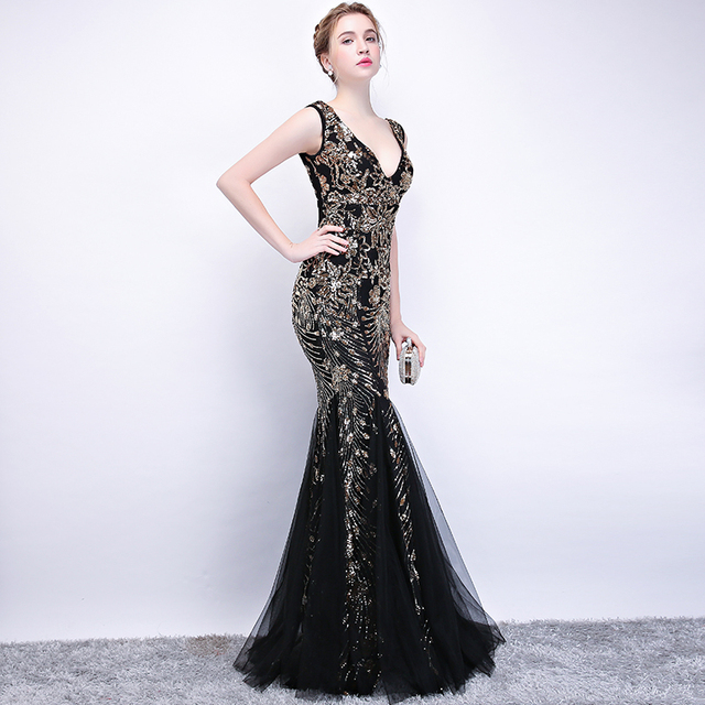 Marmaid Black Dark Green Double V Sequined Embroidery Sleeveless Gowns
