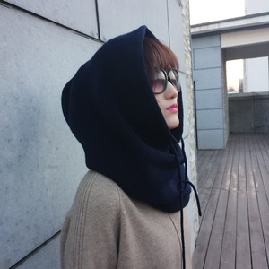 Image 3 - Zocept 여성 다기능 스카프 모자 캐시미어 울 혼합 니트 목 모자 겨울 부드러운 따뜻한 솔리드 컬러 머리 모자