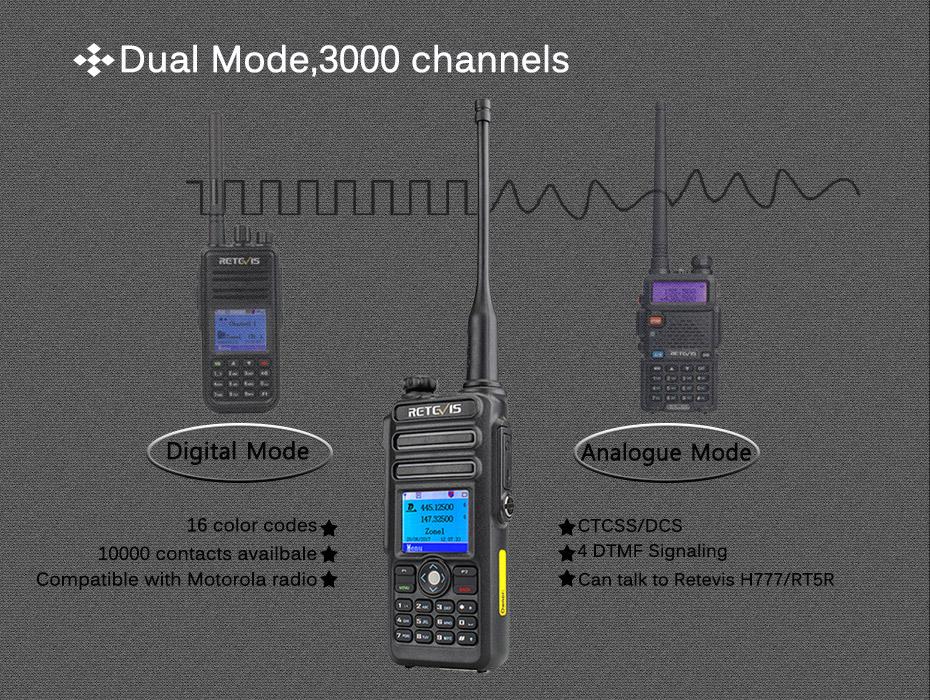 Dual Band DMR Retevis RT82 GPS Digital Radio Walkie Talkie 5W VHF UHF DMR  IP67 Waterproof Ham Amateur Radio Hf Transceiver+Cable