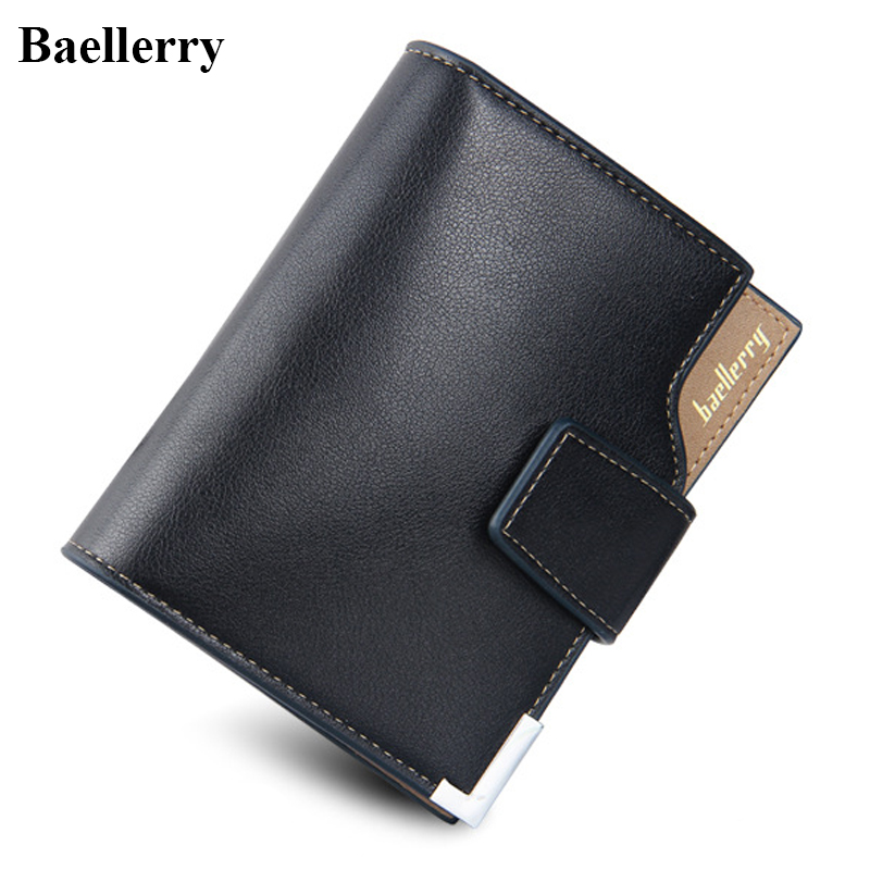 Baellerry Brand Leather Wallets Men Mutifunction Short Hasp Black Standard Purses Money Bags Credit Card Holders Clutch Wallets men purse wallet brand baellerry big capacity long money cash bag portable clutch credit card holders purses carteira masculina