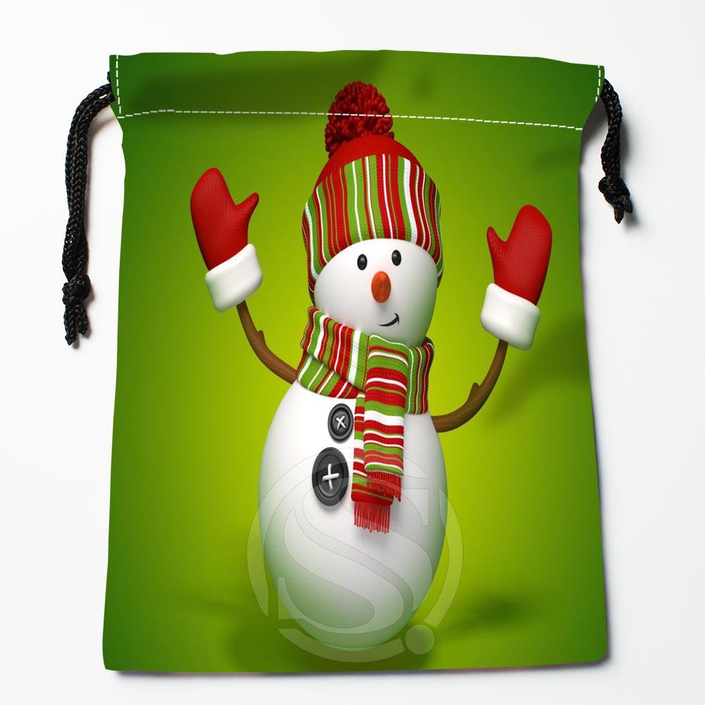 TF&89 New Christmas Snowman #!o Custom Printed Receive Bag Bag Compression Type Drawstring Bags Size 18X22cm &812#89v