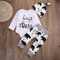 3Pcs 2016 baby Boysclothes Bear letter Pattern long sleeve Romepr+ pants +Hat 3pcs suit newborn baby boy clothing set