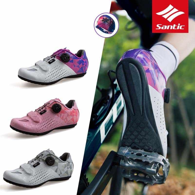 Santic שאינו מנעול ספורט כביש נעלי רכיבה נשים אופניים מלא לנשימה אופני ספורט פנאי מירוץ כביש נעליים