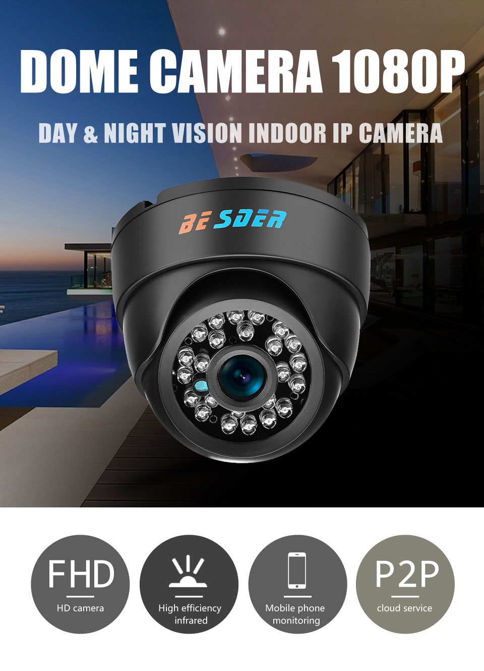 BESDER Wide Angle IP Camera Indoor Dome Camera Security 1080P FULL HD IP Camera IR Cut Filter 24 IR LED ONVIF Motion Detect RTSP