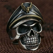 2018 Hot sale Eagle Cap Environmental copper men Punk Skull Ring Drop shipping(China)