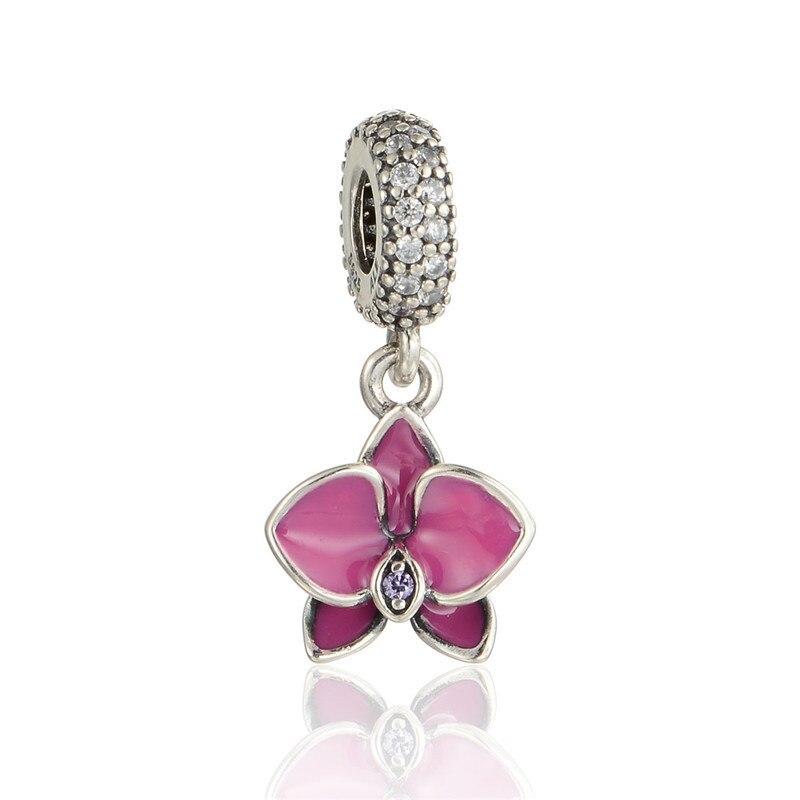 Avec bracelet 925-sterling-silver CZ Pierres Orchidée Émail Perles DIY Jewerly Résultats Convient Célèbre Marque Bracelets & Collier