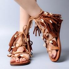 Fringe Lace Up Flats Summer Ankle Botas Open Toe Rome Gladiator Sandals Women 2017 High Quality Tassel Sandalias Ladies Shoes 41