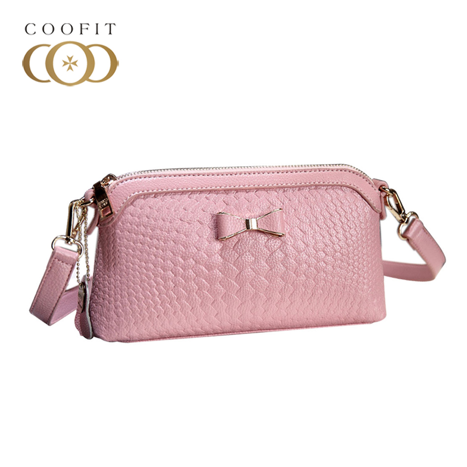 Coofit Cute Bow Zipper Bag Stylish Weave Shoulder Crossbody Bags For Mum Adjustable Satchel Bag Female Pink Clutch Purse Wallet