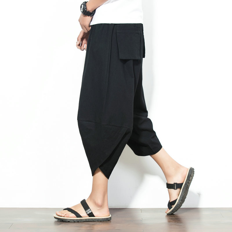 Summer Thailand Linen Pants Male Nepalese Knapsack Trousers Loose Cropped Large Legs Wide Pants cropped wide sleeve top