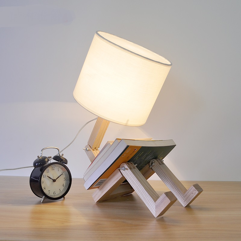 Solid Wooden Japanese bedside bedroom study bar warm light decorative lamp creative personality lovely wood raw Table Lamps indoor brief solid oak wood textile desk lamp fabrics lampshade table light bedroom bedside warm lampara night light luminaria