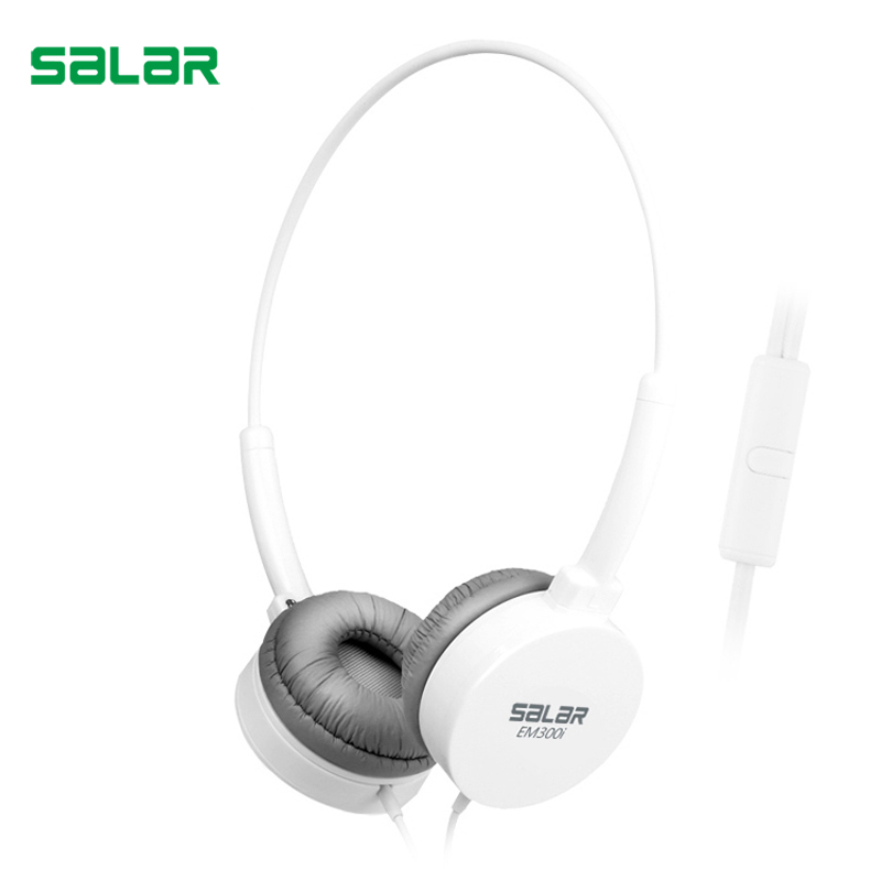 Salar EM300i Stereo Bass Headphones 3.5MM Sport Headset Music Earphone with Microphone for Xiaomi IPhone Computer PC MP3 gift candy colored headphones headband earphone stereo music headset with microphone for pc phone