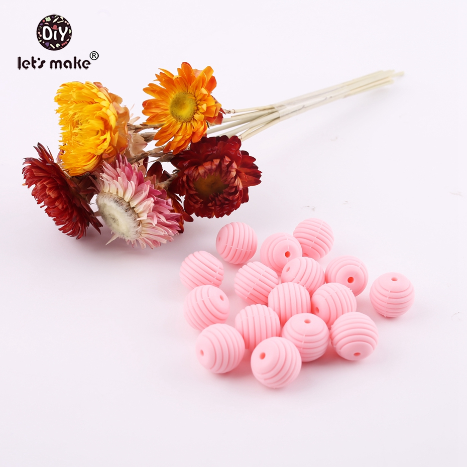 Lets Make Silicone Teething Accessories Round Spiral Beads 10pcs 15mm Food Grade Beads DIY Jewelry Baby Teethers