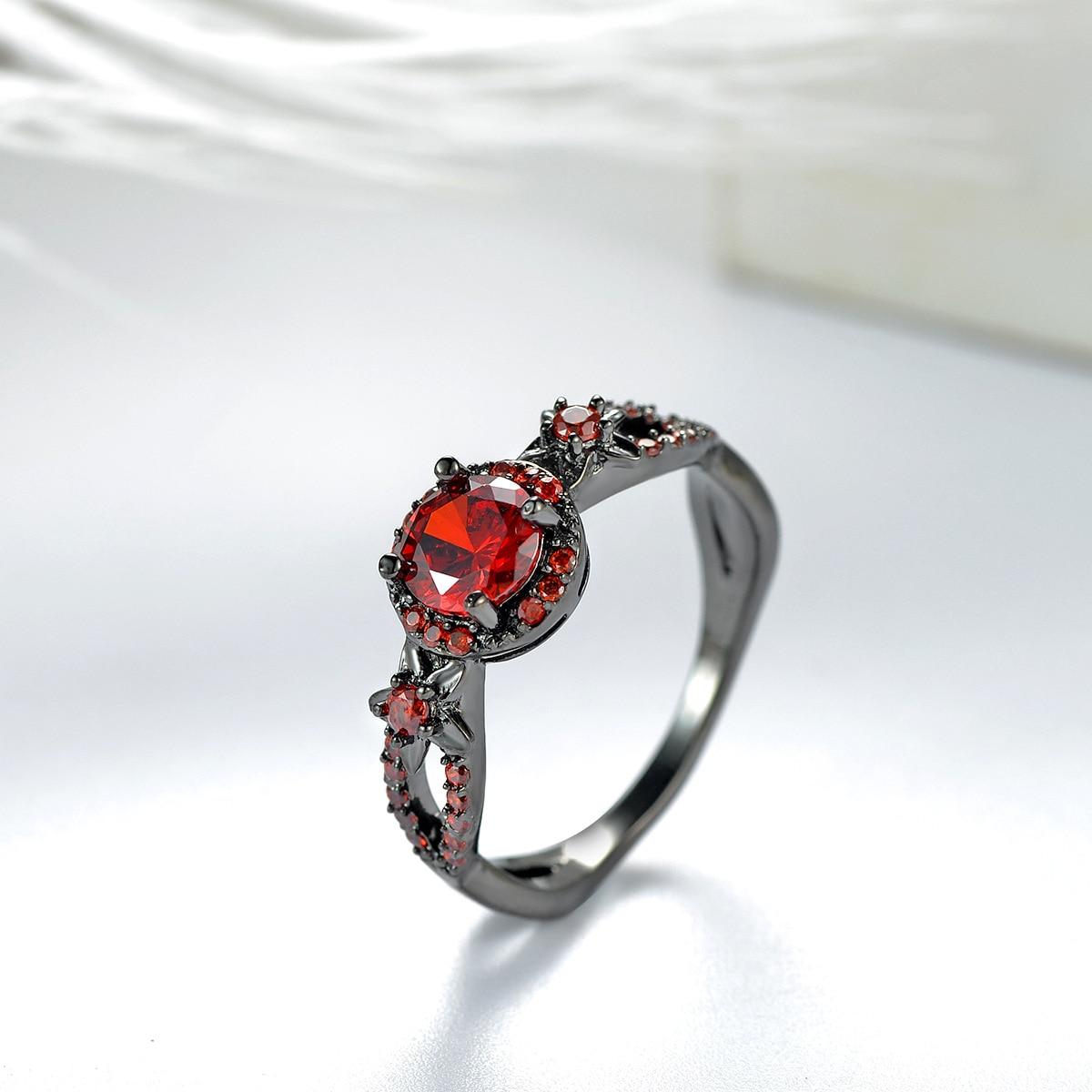 Новинка 2017 года Винтаж красный гранат черное золото заполненные красное кольцо Для женщин Свадебные украшения Обручение обещание Кольца
